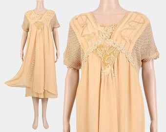 Tan Embroidered Dress | Romantic Art Nouveau Dress | 90s Empire Waist Lace Dress | Edwardian Midi Length Dress | made in Italy size M L