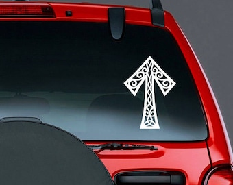 Tyr Rune Viking Vinyl CAR DECAL Norse Mythology Warrior Pagan Asatru