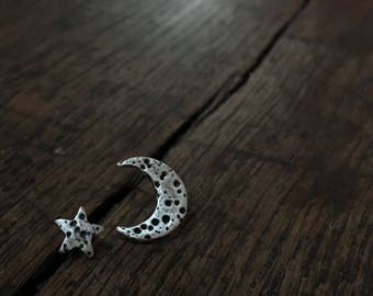 Silver crescent moon and star earrings, silver star studs, silver moon studs, moon earrings, crescent moon studs