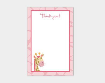 Pink Giraffe Girl Flat Thank you Note Card Thanks from Baby Shower or Birthday bs-024