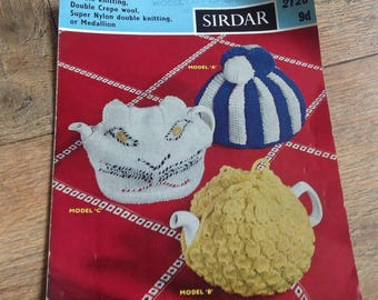 Vintage Knitting Pattern Tea cosies, Vintage Knitting Pattern