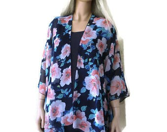 Kimono cardigan - Navy Blue floral-Pink roses-oversize chiffon kimono- summer collection-Beach Pareo