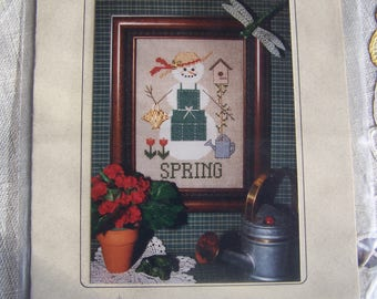 "A ""Snow"" Woman For all Seasons ~Spring~ Hillside Samplings Cross Stitch Pattern"