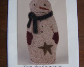 Stone and Thread Punchneedle Embroidery ~Sam, The Snowman~ Pattern