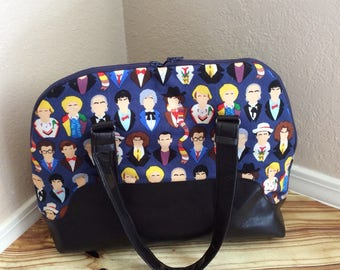 Time lord purse, Vegan leather purse, Many face of the Doctor purse, whovian, handbag, weekender bag *rts*