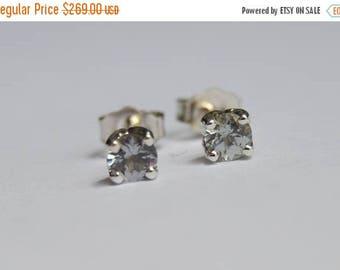 SALE White Gold Kornerupine Studs, Kornerupine earrings, grey white gold earrings, gemstone earrings, floral studs, low profile studs