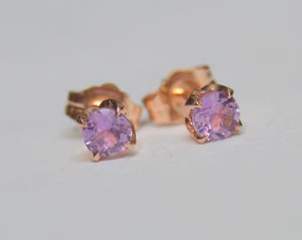 Rose Gold Earrings, Sapphire Earring, Madagascar Sapphire Earring,  Rose Gold Stud, Floral Studs, Sapphire Post Earrings, Pink Sapphire