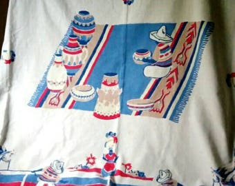 1950s Vintage Mexican Southwestern cotton tablecloth blues and reds 70Lx58W