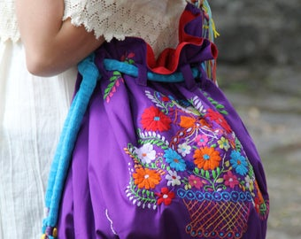 Purple and multi colored  hand  Embroidered Huipil Boho Travel tote