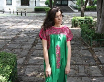Green with Fuchsia embroidery Mexican Wedding Dress