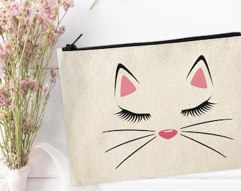 Cat Makeup Bag, Canvas Makeup Bag, Kitty Make Up Pouch, Canvas pouch, Cosmetic pouch, Cosmetic Bag, Cat Makeup Bag, Kitty Pouch