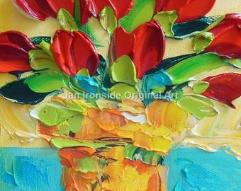 Tulip painting, Original Oil Painting  red Tulips, Palette Knife, Art, wall decor