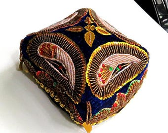 vintage CHINESE MONK'S HAT,Xianxang Provence,Western China,sequins,velvet,gold,red,navy,royal blue,pink,green,leaves,vg condition,metal