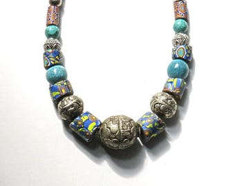 "8 ANTIQUE AFRICAN TRADE  beads, Venetian millefioris, 17 1/2"" necklace,Tibetan repoussee,aqua,silver,turquoise,rust,blue,India ceramic,metal"