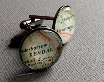 Black Cufflinks, Geography Cufflinks, Teacher Gift, World Maps, City Names, World Placenames, Cartography Gift Idea, Map Cufflinks