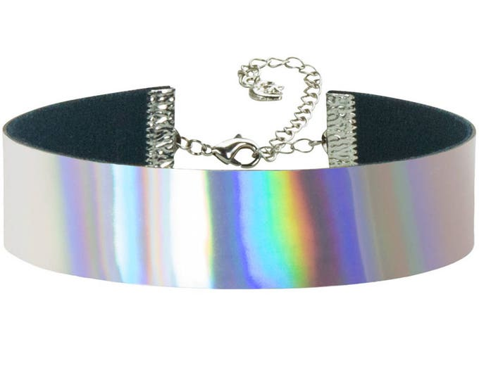 Adjustable Rainbow Hologram Choker 3/4 inch (20mm)
