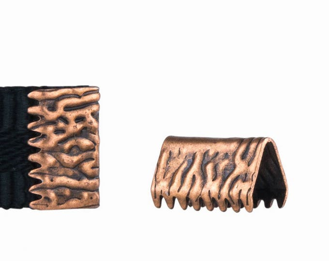 16 pieces 10mm or 3/8 inch Antique Copper * NO LOOP *  Ribbon Clamp End Crimps - Artisan Series