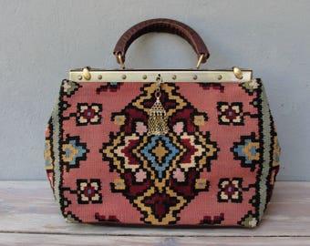 Kilim Bag, Leather Doctor Bag made with Vintage Kilim and Leather, Boho Tapestry Bag