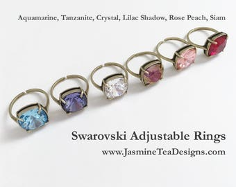 Swarovski Antique Gold Cocktail Rings, Adjustable Rings, 12mm Cushion Cut Fancy Swarovski Crystals