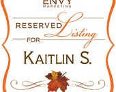 Falling in Love, Fall Wedding Invitation, Autumn Wedding Invitation, Maple Leaf Invitation, Rustic Wedding Invite, Reserved for Kaitlin S.
