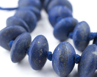 40 Saucer Afghani Lapis Lazuli Beads: Afghani Lapis Beads Natural Lapis Beads Lapis Saucer Beads Stone Saucer Beads (AFG-SCR-BLU-271)