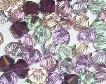 Swarovski crystal beads - 6 Different colors -- Swarovski BICONE 5328 crystal beads Pastel Mix -- Available in 4mm, 6mm