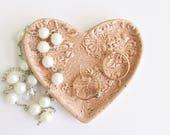 Mini Heart  Dish, Heart Ring Dish, Heart Tea Spoon Rest, Ceramic Heart Heart Earring Dish, Ceramic heart Tea bag dish Valentine Heart Dish