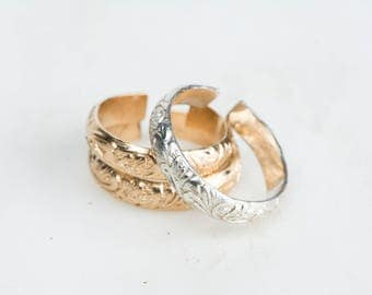 Adjustable Midi Rings, Thick Ring Bands, Sterling Silver & 14kt Gold Fill, Small Floral Knuckle Ring Band, Wide Flower Band Ring Midi