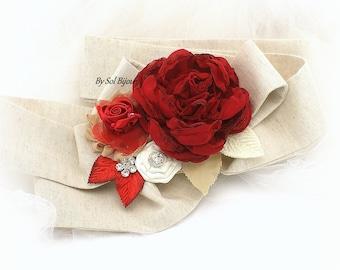 Sash, Red, Tan, Champagne, Ivory, Vintage Wedding, Elegant Wedding, Bridal Sash, Linen Sash, Maternity Sash, Flower Girl, Red Sash