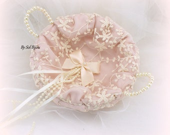 Wedding Ring Tray,Rose,Blush,Ivory,Ivory Bows,Lace Tray,Ring Bearer Tray,Vintage Wedding,Elegant,Alternative Pillow,Round Tray,Ring Tray