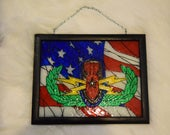 EOD Explosive ordnance disposal SR badge with US flag background simulated stained glass Art
