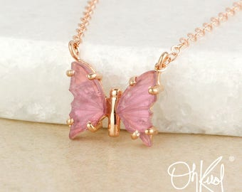 Sweet Pink Tourmaline Butterfly Necklace - Choose Your Setting - Dainty Butterfly Necklace