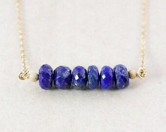 ON SALE Blue Lapis Gemstone Necklace – 14K Gold Filled or 925 Sterling Silver