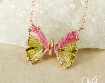 Vibrant Watermelon Tourmaline Butterfly Necklace - One of a Kind - Tourmaline Jewelry