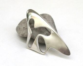 georg jensen   ...   mid century modern sterling silver pin  ...  splash ...  organic amoeba