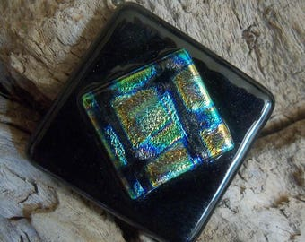 CLEARANCE - Square Dichroic Glass on Black Glass Pendant