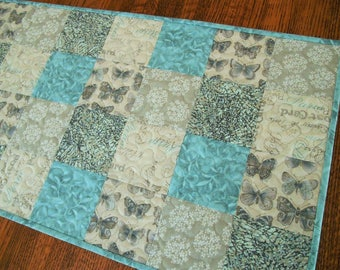Cottage Chic Butterfly Quilted Table Runner in Aqua and Gray, Vintage Butterflies Flowers Leaves and Paris Post Cards, Bedroom Decor