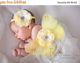 Baby Butterfly Wings and Headband Set, Light Yellow Luxe Newborn Baby Wings, Baby Girl Photography Prop, Yellow Glitter Wings, Flower Wings