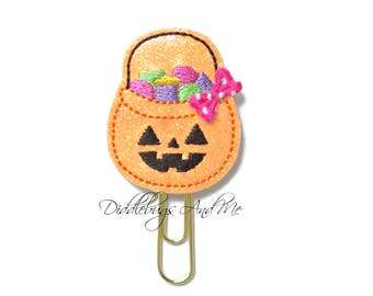 Halloween Planner Clip, Pumpkin Bucket Paper Clip, Vinyl Paper Clips, Accessory For Planner, Candy Planner Clip, Halloween Paper Clips