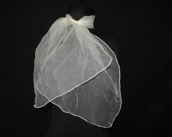 white nylon sheer scarf 60s nylon long sock hop pussy bow VLV neck tie ascot head scarf