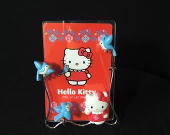 "Hello Kitty photo frame Sanrio kawaii 4"" x  6"" blue bird table top picture frame"