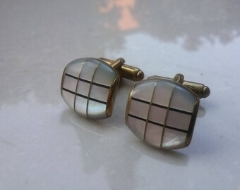 Art Deco Inlayed Mother Of Pearl Brass Cufflinks Boutons De Manchette  Rich Patina Free Shipping To The Usa And Canada
