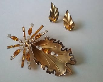 Bond Boyd Sterling And Crystals Exotic Orchid Flower Demi Parrure Vintage Brooches Earrings  Free Shipping To The Usa And Canada