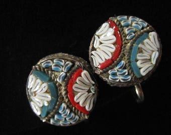 Mini Mosaic Earrings, Italian 1930's