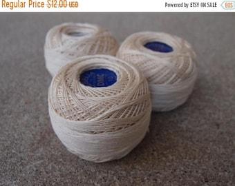 SALE SALE SALE Vintage Tatting Crocheting Thread Floss Cebelia Dmc 50 Grams Set Three Destash Lot Cream Off White Made in France Crafting Su