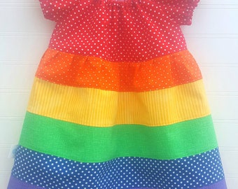 RTS Size 6 9 Months RAINBOW Dress Ready to Ship