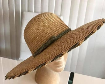 40% OFF Christmas in July Vintage Wide Brimmed Straw Sunhat -- Glamorous
