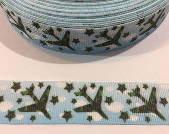 3 Yards of Ribbon - Airplanes 7/8 inch Wide