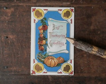 Vintage Thanksgiving Card, Holiday Postcard, Antique Greeting Card, Autumn Harvest, Cornucopia