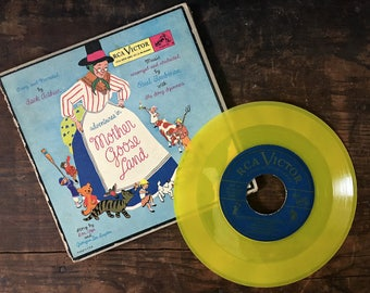 Mother Goose Record Set, Vintage Nursery Rhymes, Vinyl Records, RCA Victor, Little Nipper Series, Narrated by Jack Arthur, 45 rpms